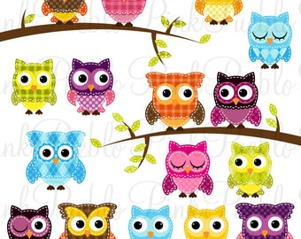 Patchwork Owl Clipart Clip Art, Patchwork Quilt Owls Clip Art Clipart Vectors - Commercial and Personal