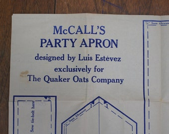 Apron Sewing Pattern Quaker Oats Premium Designed by Luis Estevez