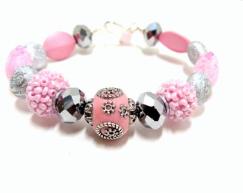 Bead Bangle- Bead Bracelet- Valentine Bracelet- Pink Bracelet- Wire Wrap Bracelet- Valentine Gift- Glass Bangle- Pink Bangle- Assorted Bead