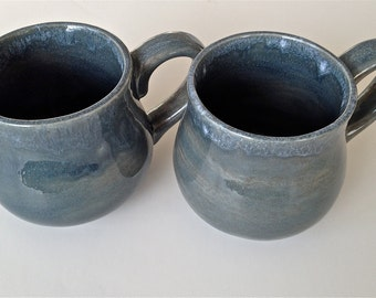 Ceramic Stoneware Coffee Or Tea Mug Blue Glaze