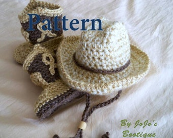 Crochet Baby Cowboy Hat and Boots PATTERNS - Baby Cowboy Hat and Boots Set - Western Hat and Boots Pattern - by JoJosBootique