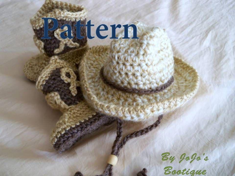 Crochet Baby Cowboy Set Pattern : Crochet Baby Cowboy Hat and Boots PATTERNS Baby Cowboy Hat