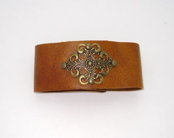 Tan Leather Cuff Bracelet Free Shipping