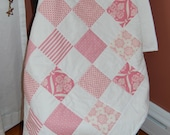 SALE, Baby Quilt, Jubilee by Moda, Pink and White, Hand Quilted