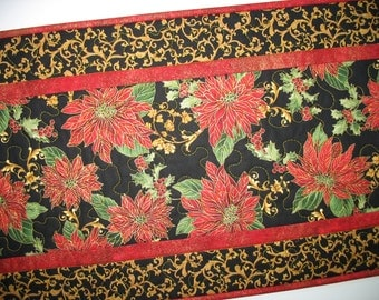 Christmas Table Runner Poinsettias quilted fabric from Timeless Treasures