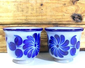 Blue & Grey Vintage Stoneware Coffee Mugs