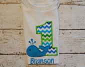Whale Personalized Birthday Shirt or body suit