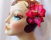 Fuschia Hawaiian Tiki Trio Orchid Flower Hair Clip, Rockabilly Pinup Hair Accessories