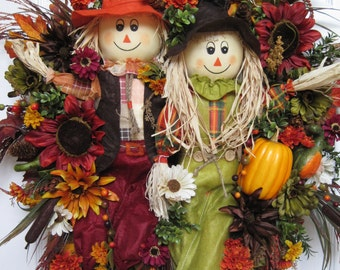 Fall Wreath, Halloween Wreath, Country Harvest Wreath, Scarecrow Couple, Thanksgiving Wreath, Front Door Wreath, Extra Large Wreath