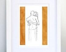Print, Art Print, Wall Decor, Wall Art, Illustration Print, Pencil Acrylic Drawing Golden hug No3 - print 8x11.5 inch (21x29.5 cm)