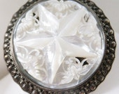 Vintage jewelry huge necklace brooch in silver marcasite white mother of pearl huge brooch pendenant