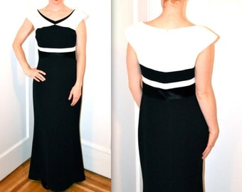 90s Vintage Evening Gown Black and White by Badgley Mischka size 10// Black and White Gown