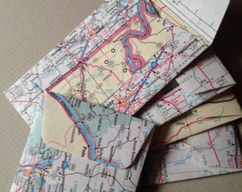 "Mini Road Map Envelopes - US Road Atlas Envelopes--United States Road Atlas Envelopes--Size 2 1/8"" x 3 1/2""--Open End/Coin Style"