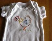 Hand Embroidered Onesie --  Chicken
