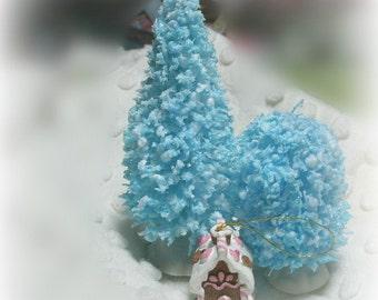 4 in FLOCKED bottle brush tree light BLUE  vintage inspired
