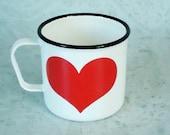 Kaj Franck Heart Enamel Mug - Vintage Kaj Franck Arabia Heart Enamelware