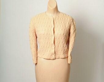 50's Calming Peach Cardigan / pearl sweater / 1950s
