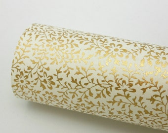 Paper Swatch GLD3 - Gold Mini Floral - Chiyogami Paper