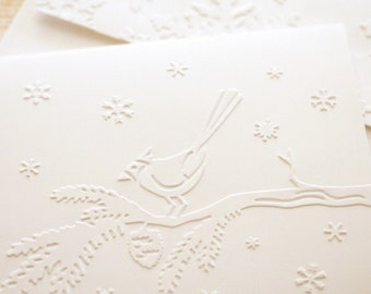 Winter Note Cards Set - Embossed Cardinal Cards with Matching Embossed Envelopes Christmas Birds