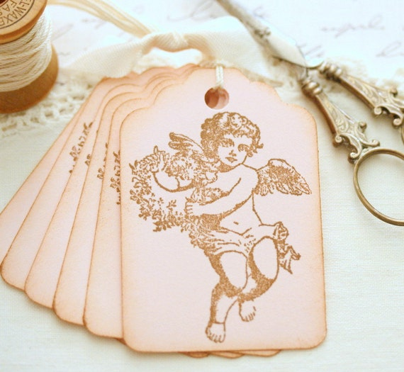 Angel Gift Tags Pink Wedding Favors Baptism Gifts Baby Shower