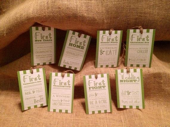 Set of 8Bridal Shower Wine Basket Gift TagsStripe