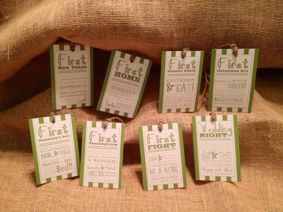 Wedding Wine Gift Basket: Set Of 8 Bridal Shower Wine Basket Gift Tags Stripe