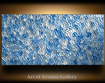 Abstract Texture Painting 48 x 24 Custom Original Modern Blue Silver White Metallic Knife Oil by Je Hlobik
