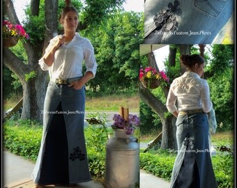 DELAROSA Custom Order two tone Long jean skirt with added flower detail to your size made on order size 0,2,4,6,8,10,12,14,16,18,20,22,24,26