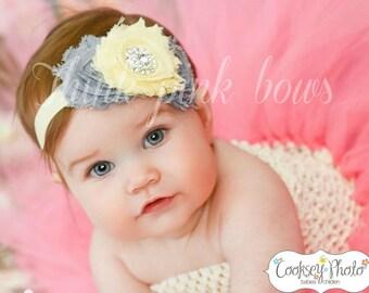 Baby headband,Newborn Headband, Baby girl Headband,Shabby chic Headband, Baby Headbands, yellow grey baby Headband,Shabby Chic Headband.