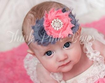 Baby headband,Newborn Headband, Baby girl Headband,Shabby chic Headband, Baby Headbands,Headband, coral grey Headband,Shabby Chic Headband.