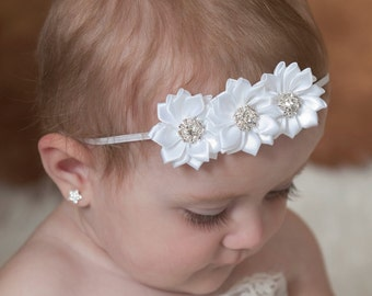 White Baby Headband, Baptism Headband, Christening Headband, Baby headbands, Flower Headband, Baby Hair Bows, Baby Girl Headband, Baby Bows.