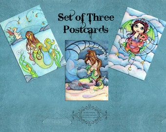 Set of 3 - Fantasy Fairy and Mermaid Postcards - Original Art