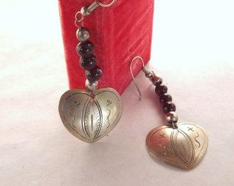 Silver Heart Earrings, Pierced Heart Earrings, Silver Engraved Earrings, Vintage Heart Earrings, Dangling Heart Earrings, Beaded Earrings