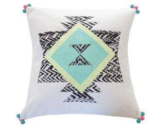 SALE Neon African Tribal Pillow, 14x14 inches, Beaded Accents