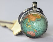 Globe Keychain World Map Planet Earth Geography Key Chain Key Fob Car Accessories