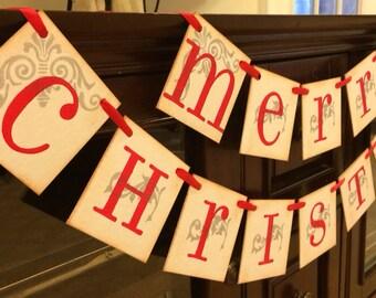 Christmas Decorations Merry Christmas Banner Garland Christmas Banner Red and Silver Christmas Garland