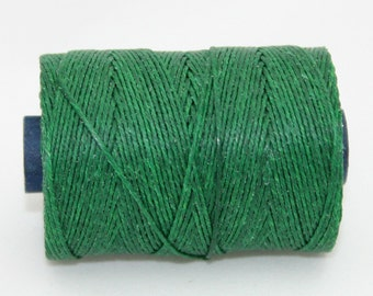 Waxed Irish Linen Thread Green 4 Ply