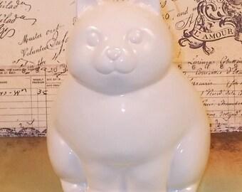 Kitty Cat Piggy Bank - Ceramic Cat Bank  - White