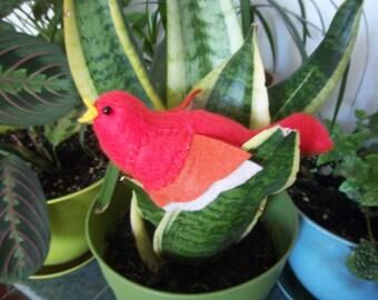 Felt Plush Stuffed Animal/ Pin Cushion- Coral & Burnt Orange