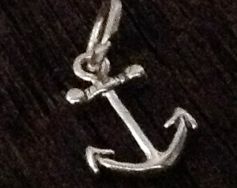 2 Sterling Silver Anchor Charms  - Nautical Beach  - Sailing - Boating -  Small SS Anchors - C129