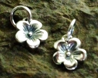 The Sweetest Sterling Silver Flower Charms Ever - 2 Tiny Cherry Blossoms C86