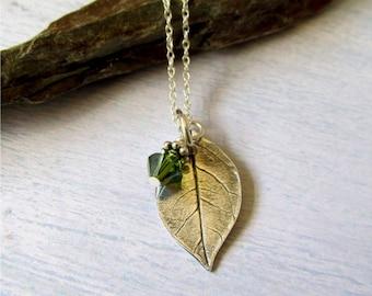 Silver Leaf Necklace, Real Leaf Necklace, Fine Silver Leaf, Botanical Jewelry