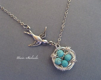 Mothers Day Necklace, Silver Bird Nest Necklace, Silver Lariat Branch Necklace, Turquoise Necklace