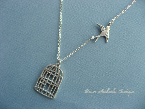 Mothers Day Silver Birdcage Necklace With Free Flying Sparrow Necklace