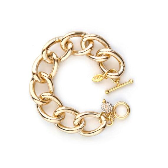 Charmed Bracelet-Gold Chunky Chain Link Bracelet, gold bracelet, charm bracelet, chain bracelet