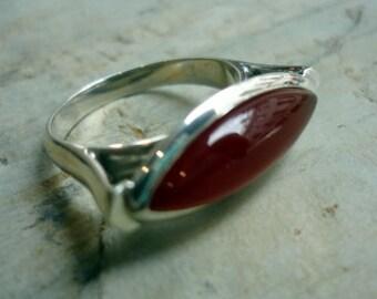 Sterling Silver Ring, Carnelian Stone, Oval Carnelian Stone Ring, Oval Silver Ring, Red Stone Ring, Orange Stone Ring, Statement Silver Ring