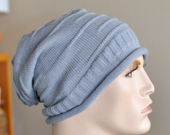 Knit man hat Men Slouch Beanie Slouchy Hat Winter Adult Teen CHOOSE COLOR Black Gray Mens Christmas Gift