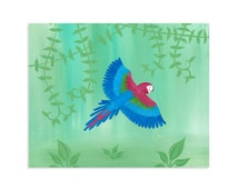 Jungle Kids Room Fine Art - Tropical Bird Print - Green Winged Macaw Print