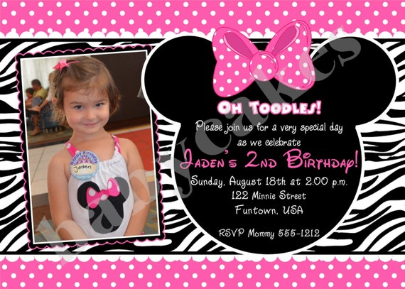 Minnie Mouse Birthday Invitation Zebra Print - DIY Print Your Own - Matching Party Printables Available