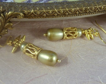 REDUCED  ~  for Fall Sage Green Pearls~ Cultured Pearl drop, gold spike Earrings